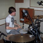 Jake at the studio drumming