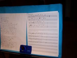 Written cello parts for recording