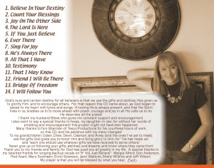 Deb Erdei's CD song list and thank you notes.