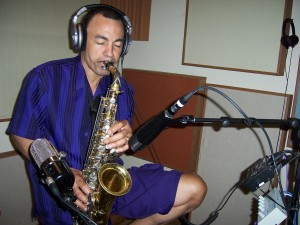 Richie Love performs sax overlays at Tesco Productions