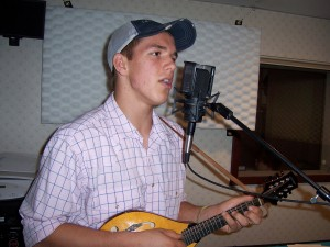 James recording mandolin & vocal