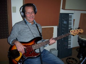 Lyle Yates listening to bass part at Tesco Productions