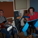 Lyle & Justin recording bass & percussion at Tesco Productions