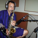 Richie Love records sax at Tesco Productions