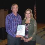 Tom Sharman receiving award from Carlene Crom