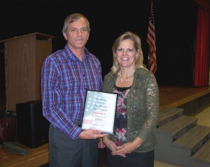 Tom receives special award from Carlene Crom at Tabor, IA.