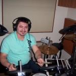 Mario records drums with Grupo David