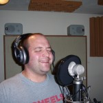 Justin Wissink recording vocals at Tesco Productions
