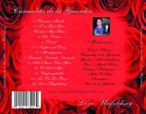 Carmelita de la Guardia - Love Unfolding CD back