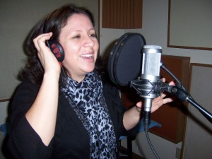 Anabel Albuja recording Spanish lyrics at Tesco Productions