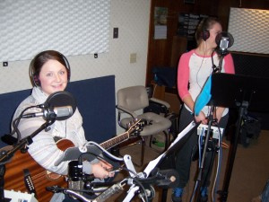 Alexa Clark and Alycea waiting to record.