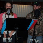 Alycea and Craig ready to record their harmonies.