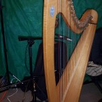 Harp setup for studio video/audio recording.