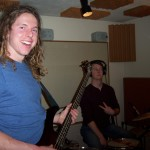 Zach plays bass and Brady on drums at Tesco Productions.